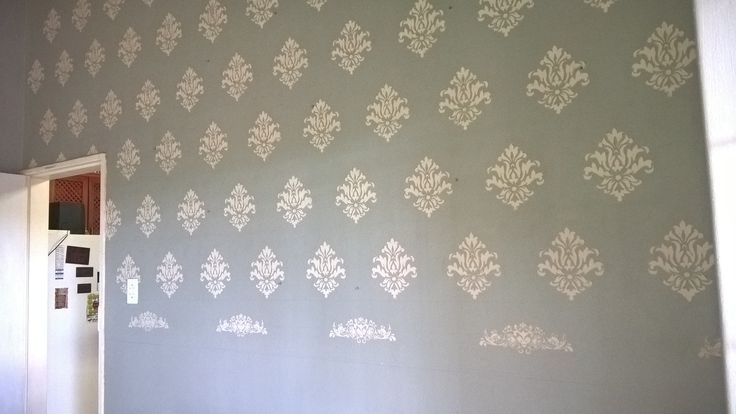 Stencilling with embossing paste on Dining room wall