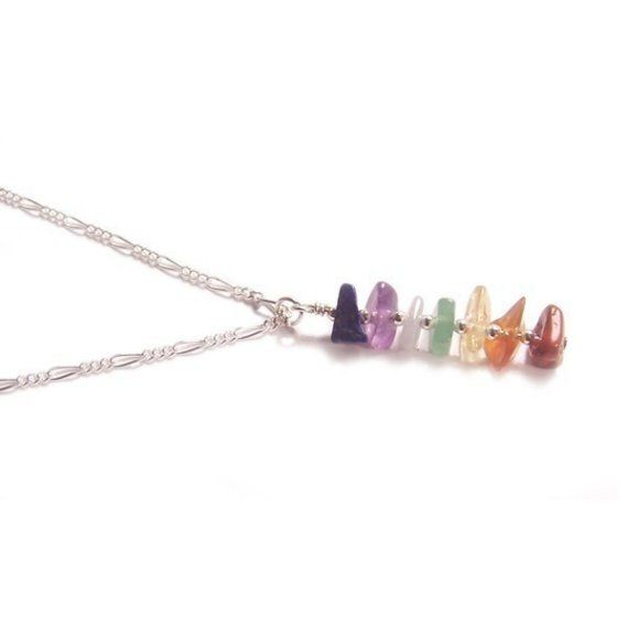 Sterling silver Chakra necklace gemstone chips by LunarraStar, $30.00