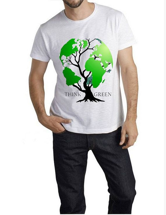Think Green - Mens Casual T - shirt - American Apparel Shirt -All Sizes