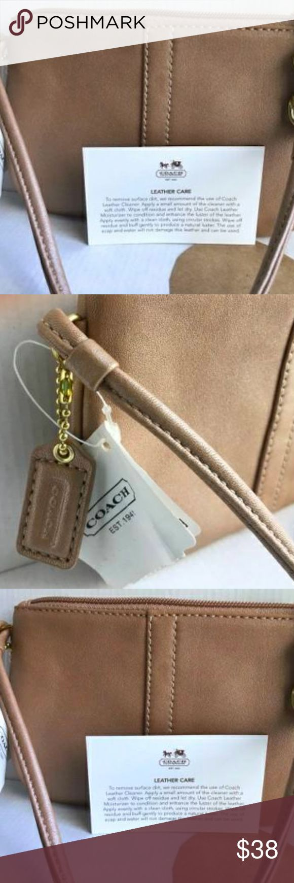 COACH Brand Wristlet Champagne Small Purse - NEW ★ New with Tags COACH Brand Wristlet Champagne - Leather F42389 (NEW) Authentic Coach Brand Women's Wristlet Small Purse  Champagne (Tan) Leather 4in x 7 in  Estimate  PLEASE READ AND REVIEW PHOTOS BEFORE PURCHASING - Happy Shopping! Coach Bags Clutches & Wristlets