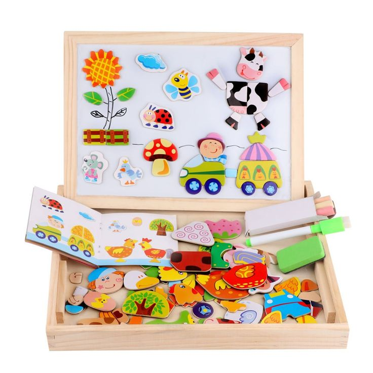 Wooden Magnetic Jigsaw Puzzles Toy, DIWENHOUSE Toddler Toys Educational Travel Games 100 Pieces Double Sided Drawing Easel for Boys and Girls (Farm)