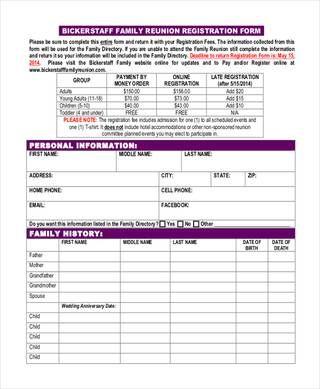 bickerstaff family reunion registration form Taylor Family Reunion