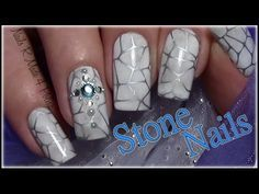 Stein Optik Nageldesign mit Strass / Stone Stamping Nail Art Design - YouTube
