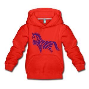 Zebra Kinder Premium Kapuzenpullover rot/lila
