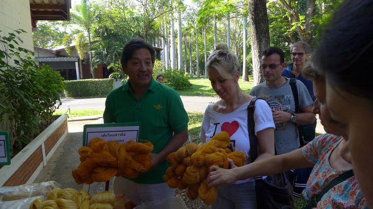 Eric Booth fait découvrir des écheveaux de soie Thailandaise – à Bankog.