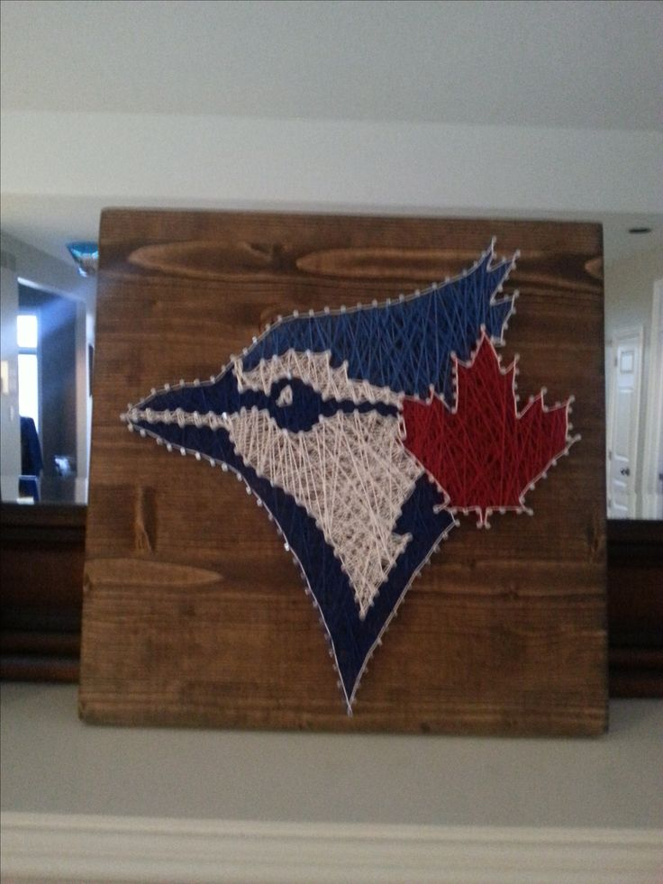Toronto Blue Jays String Art.  12 X12 on stained wood. My design.