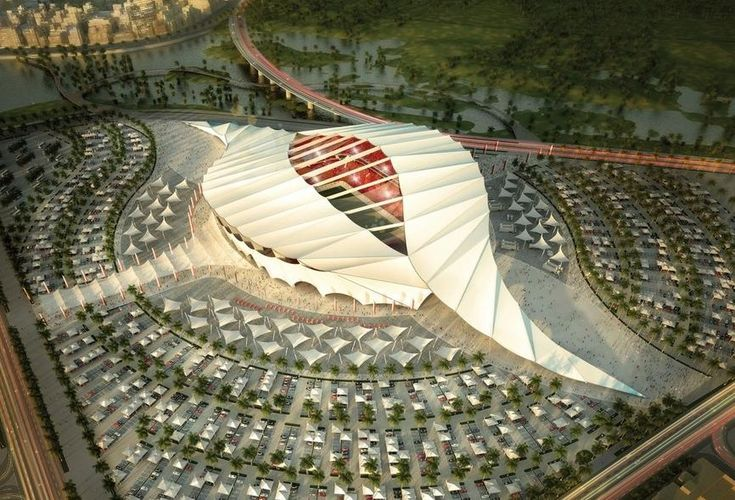 Al-Khor Stadium/ Soccer, this is one of the Stadiums Qatar is making for World Cup. It looks like a Seashell from the side.