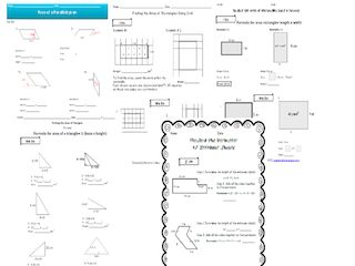 PowerPoint introducing how to find the area of a triangle and why the formula is what it is. Area of parallelogram worksheets Area of rectangle using grid worksheets Area of rectangle using formula worksheets Area of a triangle worksheets Perimeter of irregular shapes worksheets