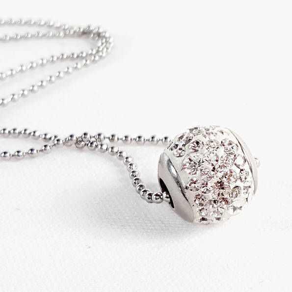 18mm Swarovski Crystal Steel ball pendant tray - Surgical Steel Jewelry - sparkle crystal and steel necklace I. by SteelJewelryShop on Etsy