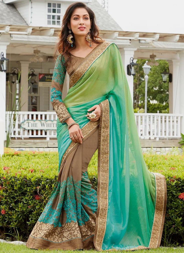 Blissful Faux Chiffon Multi Colour Designer Traditional Sarees