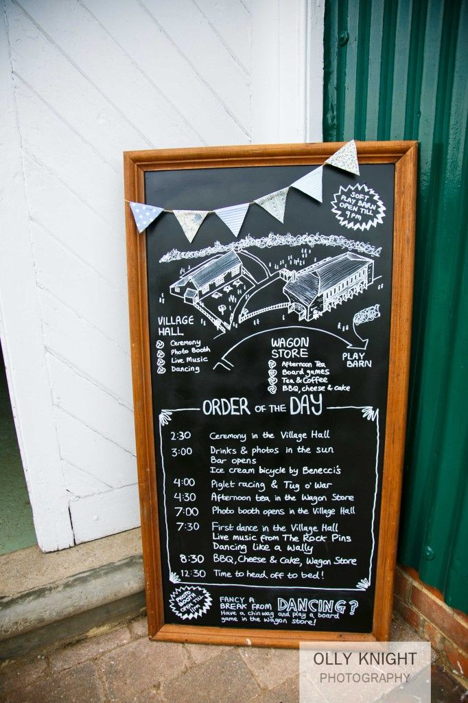 Tom  Carly's Wedding- an order of the day board. Great for keeping guests aware of what's happening.