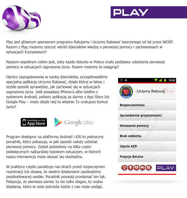Dowiedz się więcej na temat naszej aplikacji, w której uczymy Was pierwszej pomocy. https://itunes.apple.com/pl/app/uczymy-ratowac/id490637615?mt=8