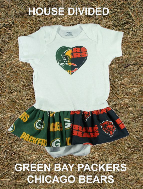 House Divided - Green Bay packers and Chicago bears. Baby girl onesie dress