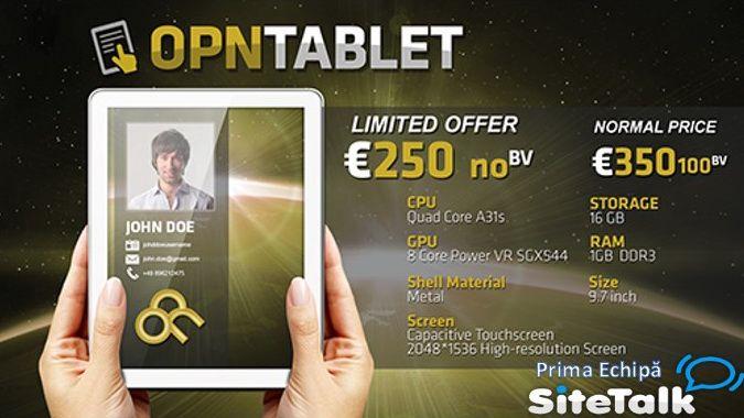 Orice partener GOLD are dreptul sa cumpere tableta OPN cu un discount de 100 de euro !