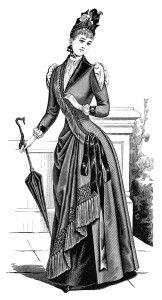 Victorian lady clipart, black and white clip art, Edwardian fashion image, antique dress illustration, ladies costume 1889