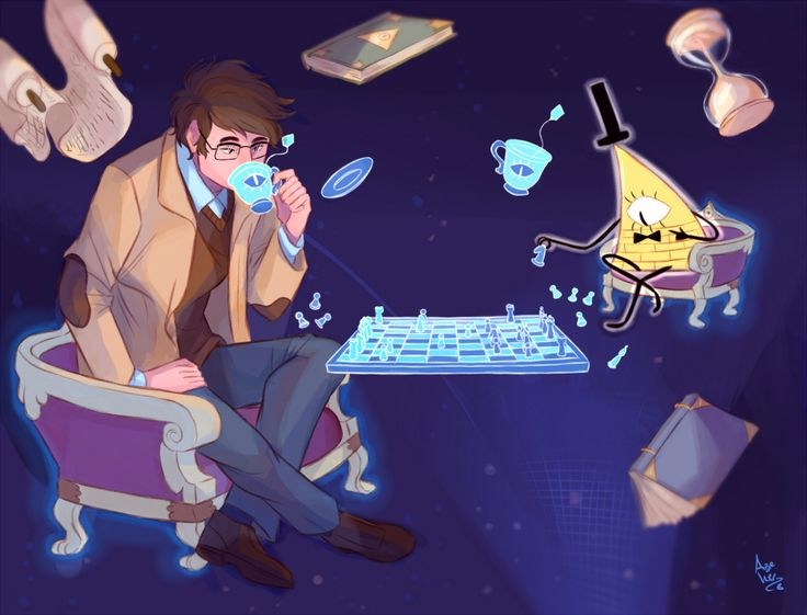 Gravity Falls - Young Stanford Pines and Bill Cipher For a second I thought Stanford was David Tennant (as the doctor)