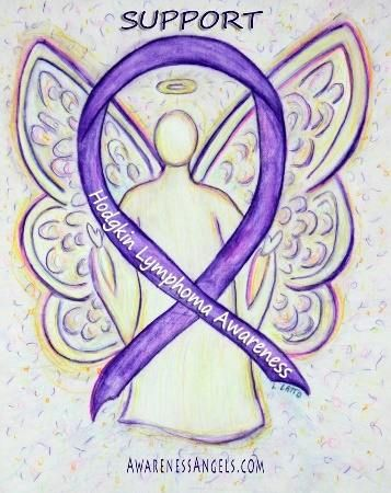 #Hodgkin #Lymphoma (HL) uses a violet awareness ribbon.  Let this #angel support those with #HodgkinLymphoma #Cancer #Awareness