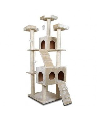 Giant Cat Scratching Tree with Ladder - Beige