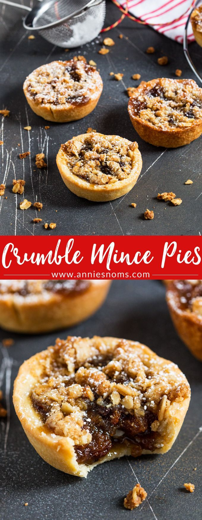 A twist on the classic Mince Pies, these pies have a crunchy, oat topping to contrast with the juicy, sweet filling and crisp homemade pastry outer shell. #christmas #mincepies