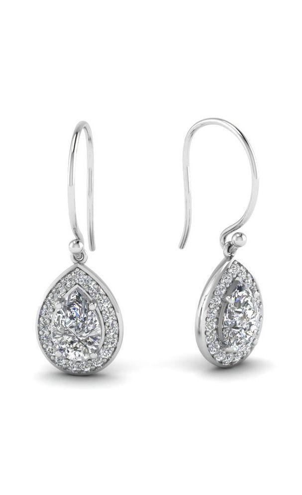 White Diamond Drop In 14K White Gold