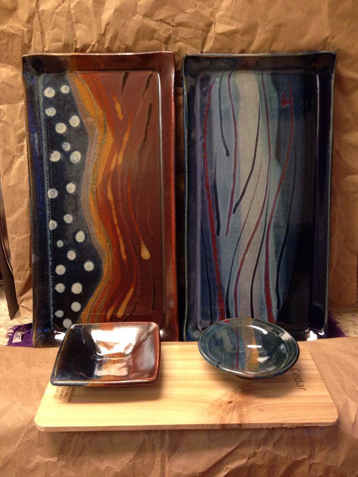 Cedar plank salmon trays. High fired stoneware clay. From the studio of JulieAnne Hage. St. Albert, Alberta, Canada.