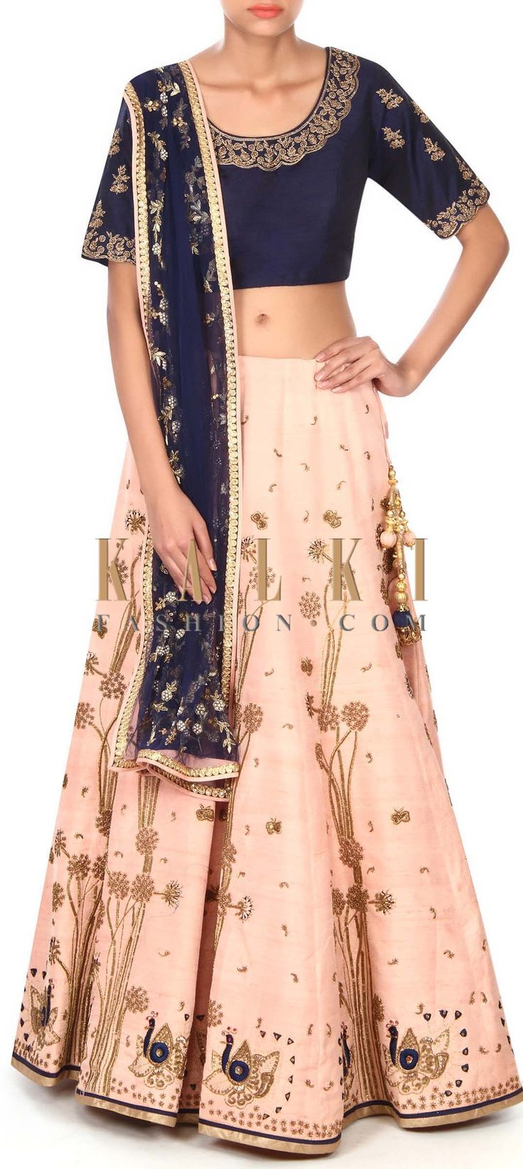Buy this Baby pink lehenga adorn in peacock motif embroidery only on Kalki