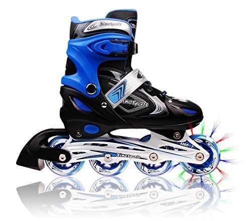 #Adjustable #Inline #Skates: Awesome Appearance & #Excellent #Performance. #Color: Black/Blue #Package Height: 4.6 x 13.8 x 15.9 inches #Shipping Weight: 5.45 pounds #Size: Youth Big Kid Medium – 1-4 #High quality, durable aluminum frame #Polyurethane wheels 70 mm with lights #High-performance ABEC-7 bearings #Brightly colored light emitting wheels #Comes with ankle straps and soft padding