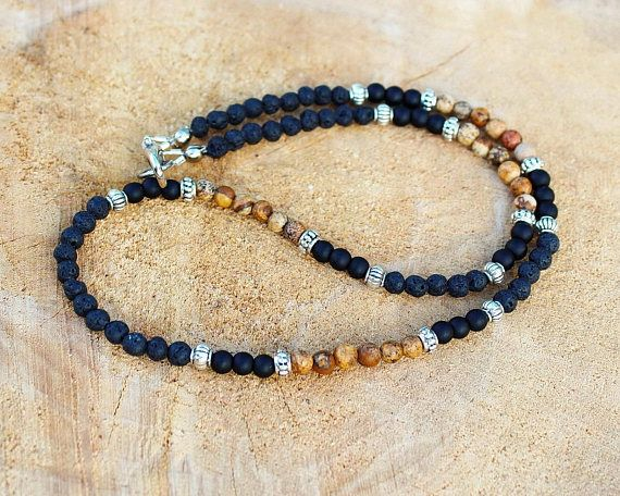 Mens Necklace, Black lava, Brown picture jasper, Matte black onyx, 4mm Beaded Mens Stone Necklace, Jewelry for Men Roman Empire ages style in 4mm beads FROM NOW our best-selling necklace is in 4 mm! Welcome! YOU CAN CHOOSE THE BEADS SIZE NEEDED IN THE VARIATIONS - 8mm, 6mm or