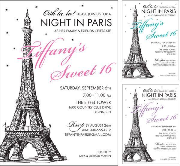 Paris Party Invitation / Choose your colors on this Paris theme invitation