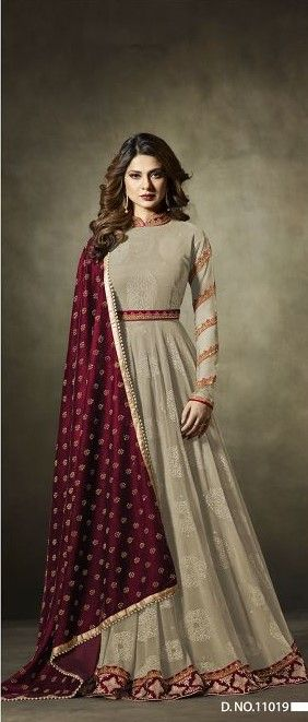 #grey  #anarkali #anarkalisuit #salwarkameez | pure georgette | heavy embroidery | santoon fabric | lycra jacquard santoon | maroon colour micro tone velvet dupatta | party wear | occasional wear