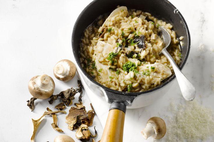 Een lekker lichte risotto met champignons en kip, die niet moet inboeten aan smaak!
