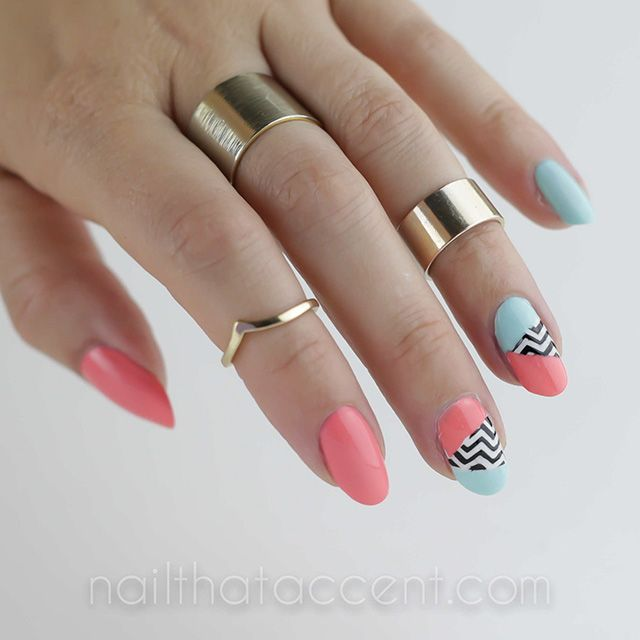 1980s, 1980s nails, 1980s nail art, 1980s pattern, nail that accent, nail art, chevron nail art, essie blossom dandy,