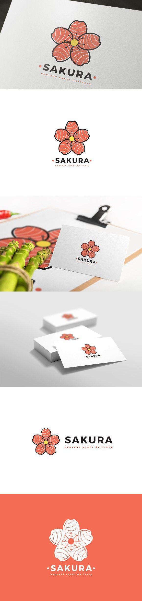 Sakura Sushi Delivery Logo. Logo Templates