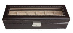 """6 Piece Chocolate Brown Leatherette Men's Watch Box Display Case and Storage Organizer Jewelry Box TimelyBuys. $32.99. Case measures approximately 4"""" x 13"""" x 3""""; Each compartment measures 45 mm in width (3.25"""" L x 1.75"""" W). Secure your collection with our elegant lock and tassel key. Tastefully protects, stores, and organizes up to 6 watches. Detailed contrast stitching and attractive faux suede lining add a luxury feel. Unique, one-level design offers maximum clearance for la..."""