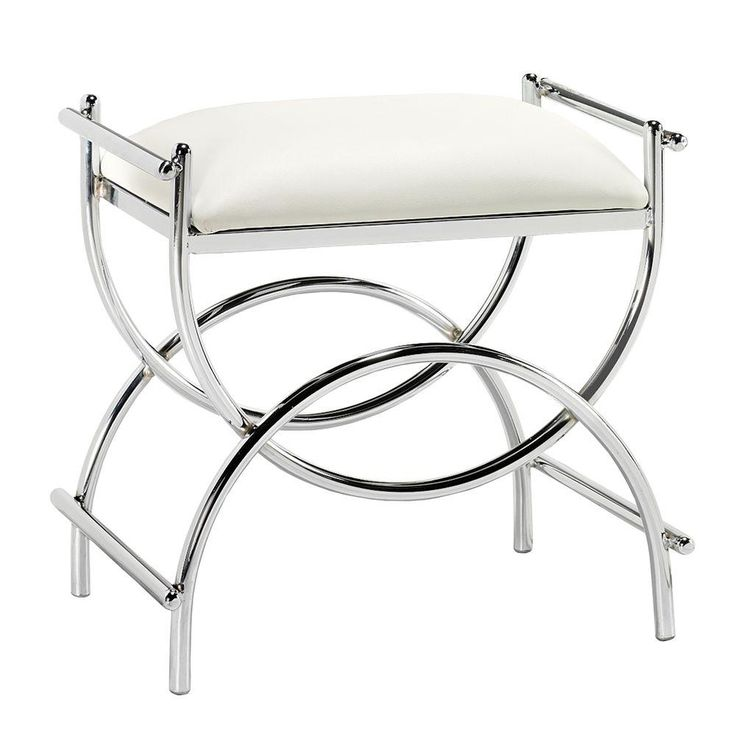 Home Decorators Collection Curve 20.5 in. W x 13.5 in. D Vanity Bench in Chrome-0180410440 - The Home Depot