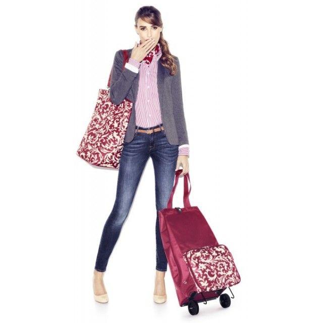 Reisenthel Foldable Trolley Shopping Bag in Fifties Black