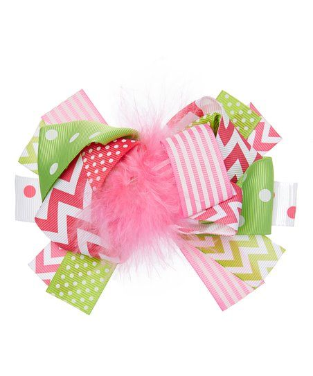 Under The Hooded Towels Hot Pink & Lime Chevron Bow Clip - Infant | zulily