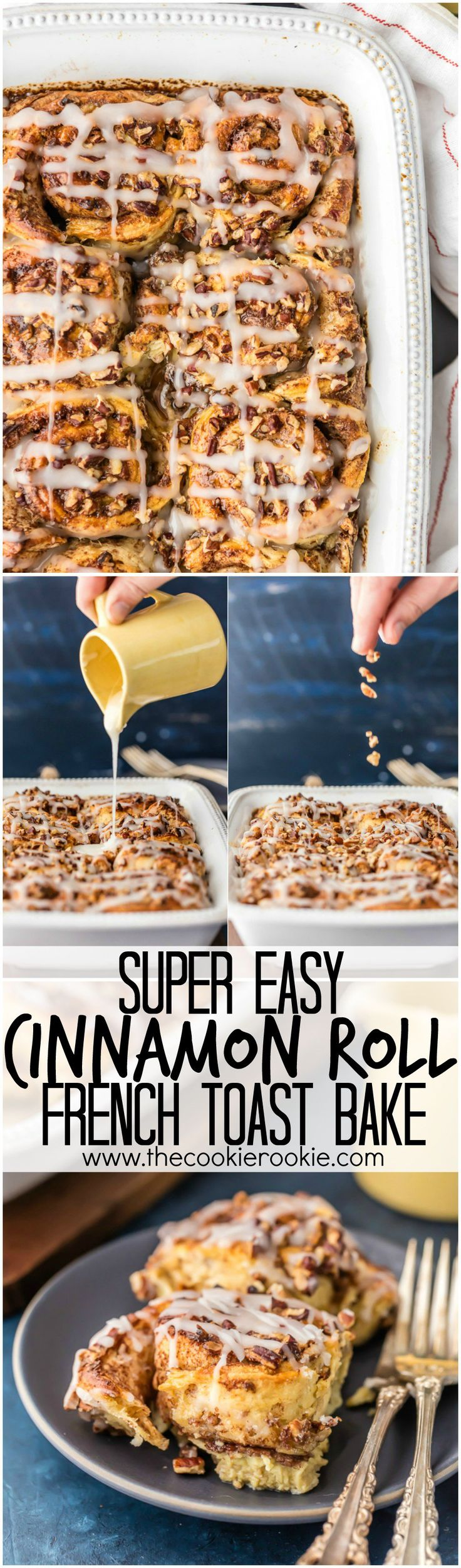 Cinnamon Roll French Toast Bake, SO EASY IT'S RIDICULOUS! Loaded with cinnamon rolls, cream, eggs, vanilla, and everything good. Perfect Christmas Morning breakfast or holiday brunch easy recipe!!