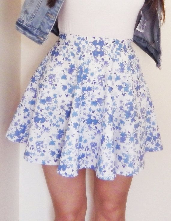 Floral Print Skater Skirt  Blue Floral High by LittleSewingStudio
