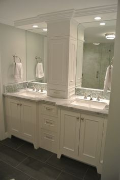 Master Bath Tall Cabinet In Center Of 2 Sinks
