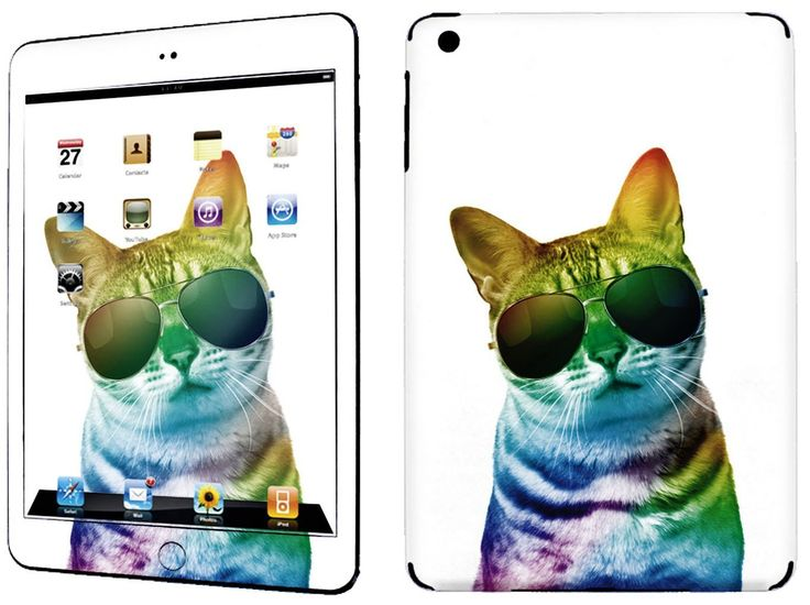 Amazon.com: White, Yellow and Purple {Rainbow Cat} Front and Back Full Body Adhesive Vinyl Decal Sticker for iPad Mini 1st Generation Models A1432, A1454 and A1455 (No Air Bubbles - Removable Residue Free Skin}: Computers & Accessories