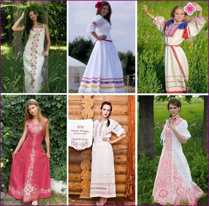 Svadobné šaty v štýle slovanského: modely a štýly starovekých kostýmoch s fotografiami