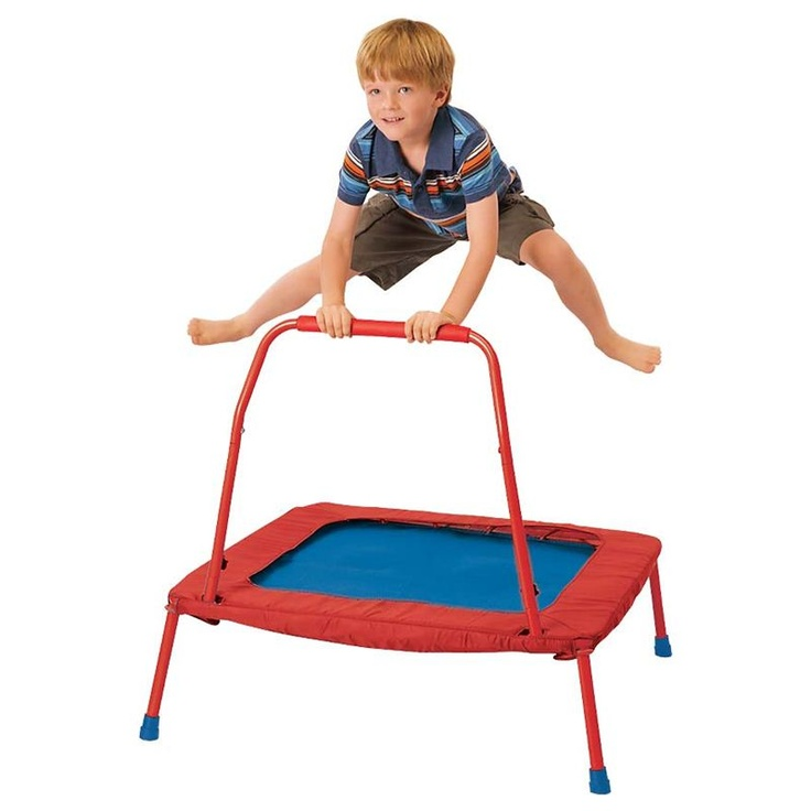 Folding Trampoline - thinking that if the little ones can get their legs right on jumps first, then we add arms?  Bar might help stability getting started & add extra seconds of air time.