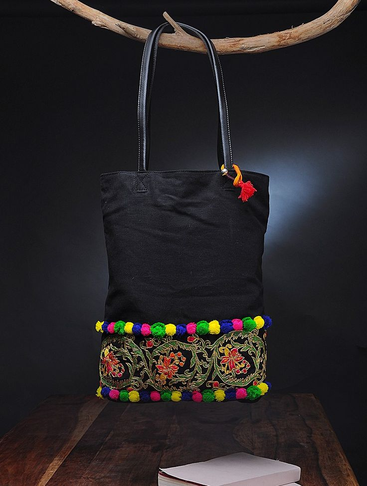 Buy Black Multicolor Embroidered Canvas Tote Bag with Pom Poms Leatheritte Bags The Story Kantha kalamkari printed pouches sling and totes Online at Jaypore.com