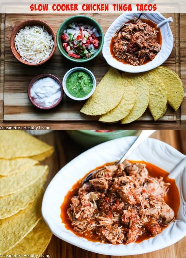 Slow Cooker Chicken Tinga Tacos - this chicken is so flavorful, juicy, tender and moist ~ http://jeanetteshealthyliving.com