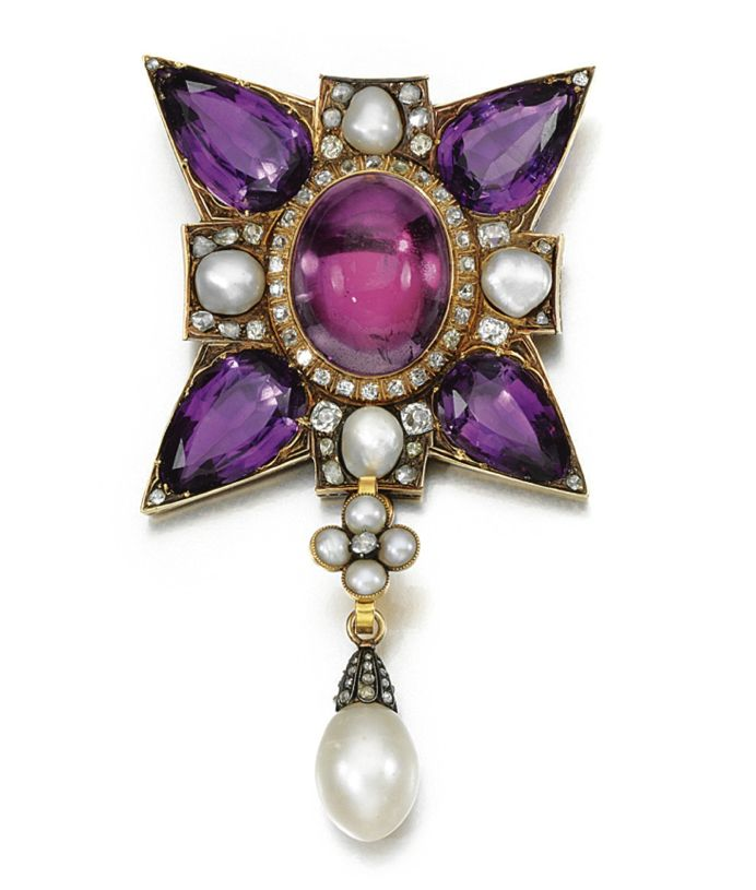 Amethyst, pearl and diamond pendant, 19th century. In the form of a Maltese cross set with pear-shaped amethyst to the cardinal points and cabochon foil backed rock crystal to the centre and pearls, suspending an associated pearl drop, accented with circular-cut and rose diamonds, pendant detachable.