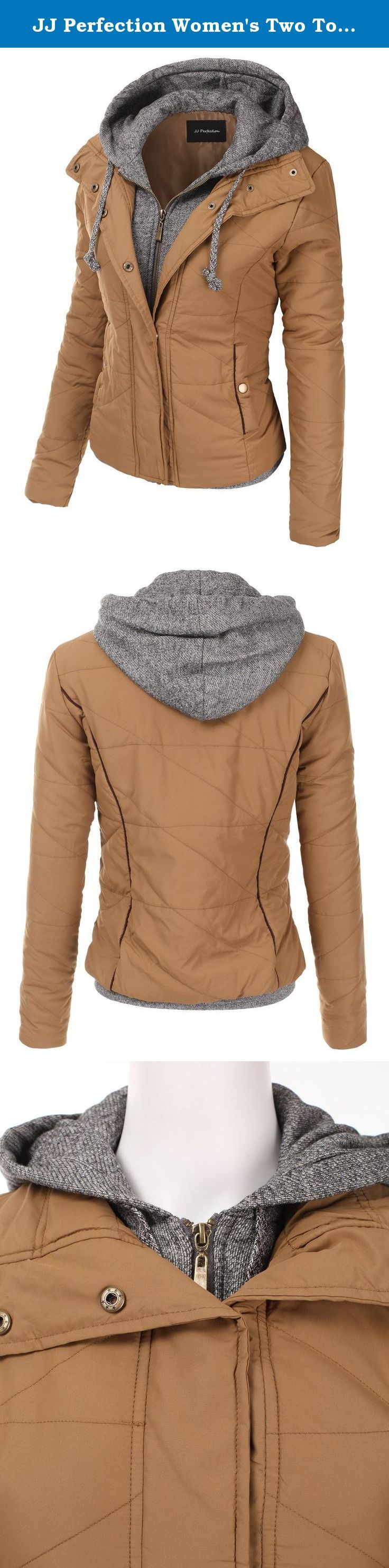 JJ Perfection Women's Two Tone Drawstring Hooded Mix Quilted Padded Jacket CAMEL M. Crafted from soft, thick polyester, this women's two tone drawstring hooded mix quilted padded jacket is extremely comfortable and warm perfect for the upcoming cold season!.