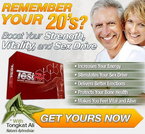 TestRX - The Natural Low Testosterone Supplement For Guys 45+. Target Audience: Men age 45-65+ who want to fight the effects of low testosterone naturally, and discreetly, to enjoy benefits that include better erections, more energy, increased strength, less depression and more.
