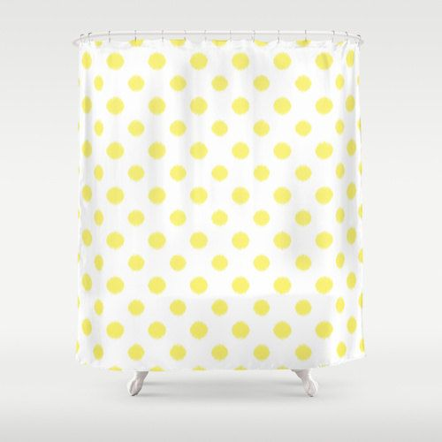 Shower Curtain in a yellow and white ikat polka dot pattern adds a touch of glamour to your bathroom.    - Shower Curtain: 71 x 74 inches