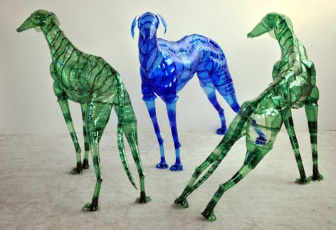 Greyhounds , installation, 2007  Danilo  Marchi  ricilato pet, plastic coated wire, nylon cable ties, 75x105 cm each